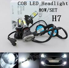 COB 80W 8000LM H7 Xenon 6000K 3k White LED Headlight Lamp Bulb KIT High Power TY