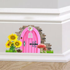 Pink Fairy Pixie Door Wall Art Sticker Decal Decor Cute Graphic Skirting Board