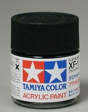 TAMIYA COLOR GLOSS ACRYLIC PAINT XF-1 Flat BLACK 10ml Free Shipping
