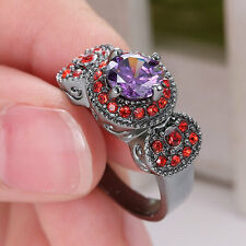New Amethyst Birthstone 14KT Black Gold Filled Wedding Bridal Couples Ring Size8