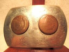OLD COMSTOCK Silversmiths Very Worn Indian Head Pennies Belt Buckle Make Offer