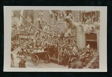 Social History c1900s parade decorted street visit Royalty ? Unlocated RP PPC