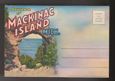 1935 MACKINAC ISLAND MICHIGAN MI Postcard Souvenir Book 18 Views Linen Curteich