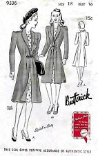 """Vintage 1940's Sewing Pattern WW11 Ultra Rare Elegant Fitted Coat  Bust 36"""""""