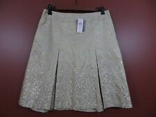 SK03955-NWT ANN TAYLOR Women 77% Silk Pleated Sequined Skirt Multi-Color 8P $128