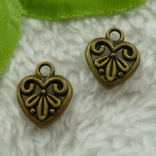 free ship 180 pcs bronze plated heart charms 15x13mm #3104