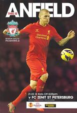 Liverpool V Zenit St Petersburgo 2012/13 Europa League programa Mint