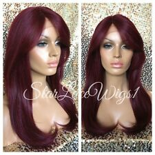 100% Human Hair Blend Long Lace Front Wig Straight Red Bangs Layered Heat Safe