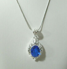 White Gold Necklace Silver Simulated Blue Topaz Pendant 18in Girls