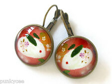 Retro Style Handmade Glass Dome French Earrings, Japanese Snow Rabbit, B-029