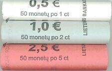 Litauen Rollen 1 Cent, 2 Cent und 5 Cent 2015 neu sofort lieferbar