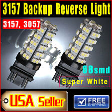 2 PCS Xenon White 3157 Car Reverse Light Backup 68-SMD LED Bulb Lights 3057 3047