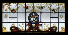 Rare Large Painted Kilnfired English Antique Victorian Stained Glass Window