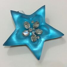 """NWT ALEXIS BITTAR BRIGHT BLUE LUCITE CRYSTAL STAR BROOCH PIN 2.5"""""""