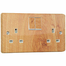 Wood Beach Effect Power Socket Outlet Sticker for Crabtree 4306 Double Switched