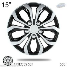 "New 15"" Hubcaps Spyder Performance Black and Silver Wheel Covers For Mazda 553"