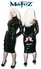 Misfitz black rubber latex buckle/padlock restraint dress Size 8-32/custom made