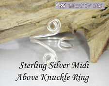 Plata esterlina .925 Ajustable Midi Anillo arriba sobre nudillo