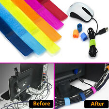 10X Mixed Color Velcro Cable Tie Winder Rope Holder Wire Cord Organizer Strap