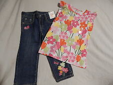 NWT 5 5T GYMBOREE TEA TIME AFTERNOON RV $60 TOP & CROPPED CAPRI JEANS