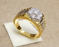 Men's 2 Tone Rhodium Yellow Gold Plated Presidential Cluster CZ Ring Size 13 New