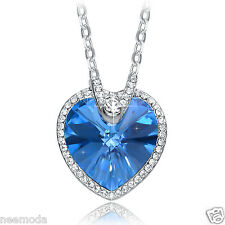 Mothers Day Gifts NEEMODA Blue Crystal Heart Pendant Necklace Women Jewelry Deal