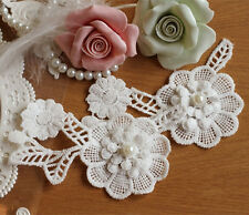 Pearl Wedding Motif 3D Bridal Lace Applique Off White Sewing on Trim 1 Pair
