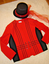Mardi Gras Ringmaster circus costume womens 18 XL red jacket top hat