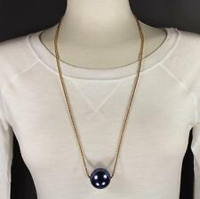 """Blue big huge faux pearl necklace bead beaded 29"""" long statement sweater gold"""