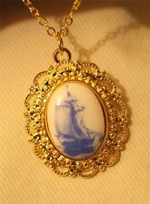 Dainty Scalloped Goldtone Blue & White Ceramic Boat Ship Cameo Pendant Necklace
