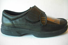 mens black  dr keller quality real leather casual comfort velcro shoes size uk 9
