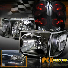 1998-2000 Toyota Tacoma 4WD Black Headlight W/ Corner & Dark Smoke Tail Light