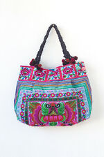 Blue Orchids Tribal Tote Bag Hmong Ethnic Embroidered Fabric Bags Bohemian Boho