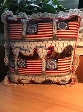 Roosters And Flags Decorative Pillow