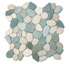 "Sliced Sea Green and White Pebble Tile 12"" x 12"" - River Rock Stone Tile"