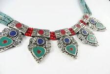 Beau collier argent ethnique Corail Rouge Turquoise et Lapis