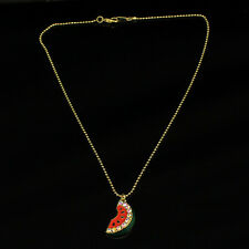 N1007 Betsey Johnson Crystal Fruit Water Melon Watermelon Chain Necklace US