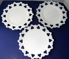 """Set of 3 VINTAGE KEMPLE WHITE MILK GLASS Ware SHELL AND CLUB PATTERN PLATES 9.5"""""""