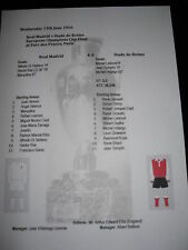 1955-56 European Champions Cup Final Real Madrid v Stade de Reims Matchsheet