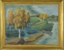 Oil on canvas: Painting Autumn from Russian disabled artist (custom framed)