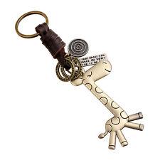 Cute Giraff Key Chain Leather Keychains Vintage Men Women Keyring Keyfob Gifts
