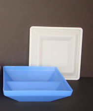 Tupperware Square Buffet Get Together Appetizer Divided Tray & Seal Blue New