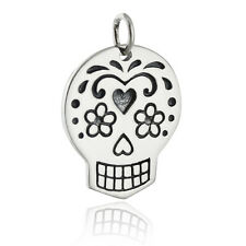 Sugar Skull Charm - 925 Sterling Silver - Mexican Day of the Dead Mexico NEW