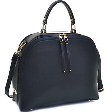 Dasein Faux Leather Dome Satchel Shoulder Bag Handbag with Zipper Closure