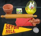 Lot of 5 Vintage 1930-40's Miniature Toys Doll Pennant Rolling Pin