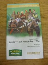14/11/2004 Horse Racing Programme/Race Card: Cheltenham - Open Meeting (folded o