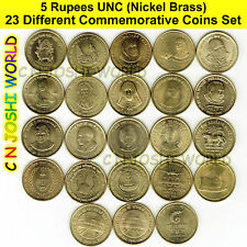 Very Rare 23 Different Nickel Brass 5 Rupees Commemorative Five Rupees UNC Set