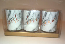 SET OF 3 VOTIVE CANDLES White Marble ROSE GOLD Wish Love Dream SCRIPT Boxed Gift