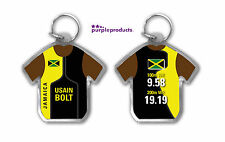 USAIN BOLT JAMAICA 100m 200m WORLD RECORD SHIRT SHAPED ACRYLIC KEYRING