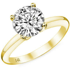 1.50CT 14k Yellow Gold Round Cut Moissanite 4 Prong Solitaire Engagement Ring